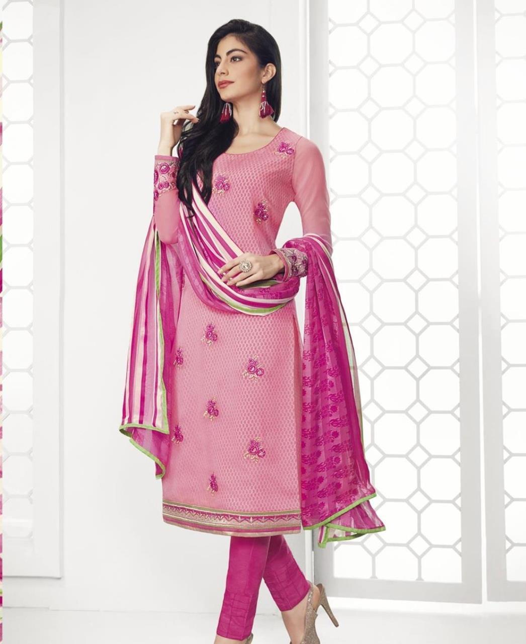 Stone Work Georgette Straight cut Salwar Kameez in Pink