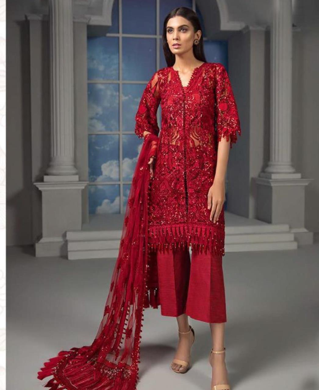 Stone Work Net Straight cut Salwar Kameez in Red