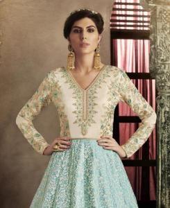 Embroidered Silk Straight cut Salwar Kameez in Turquoise  ,  Golden