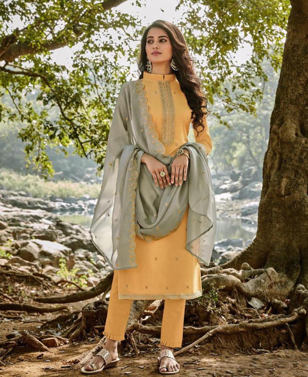 HandWorked Cotton Straight cut Salwar Kameez in Musterd