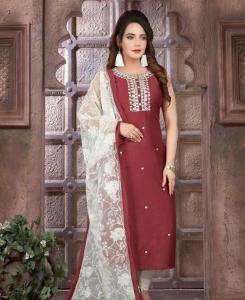 Embroidered Silk Straight cut Salwar Kameez in Maroon