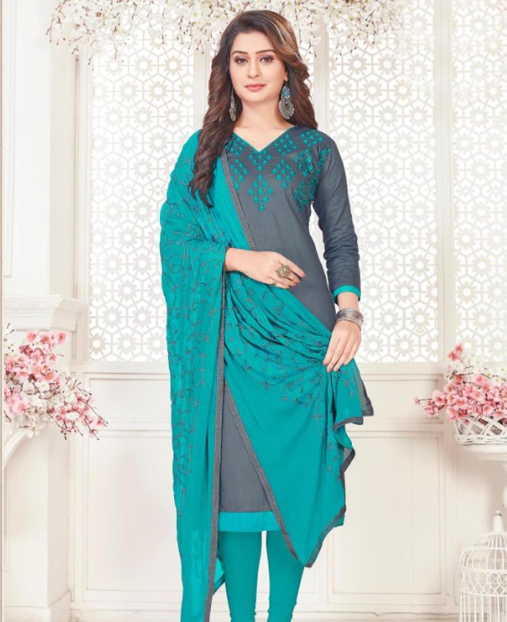 Embroidered Cotton Satin Gray Straight Cut Salwar Kameez