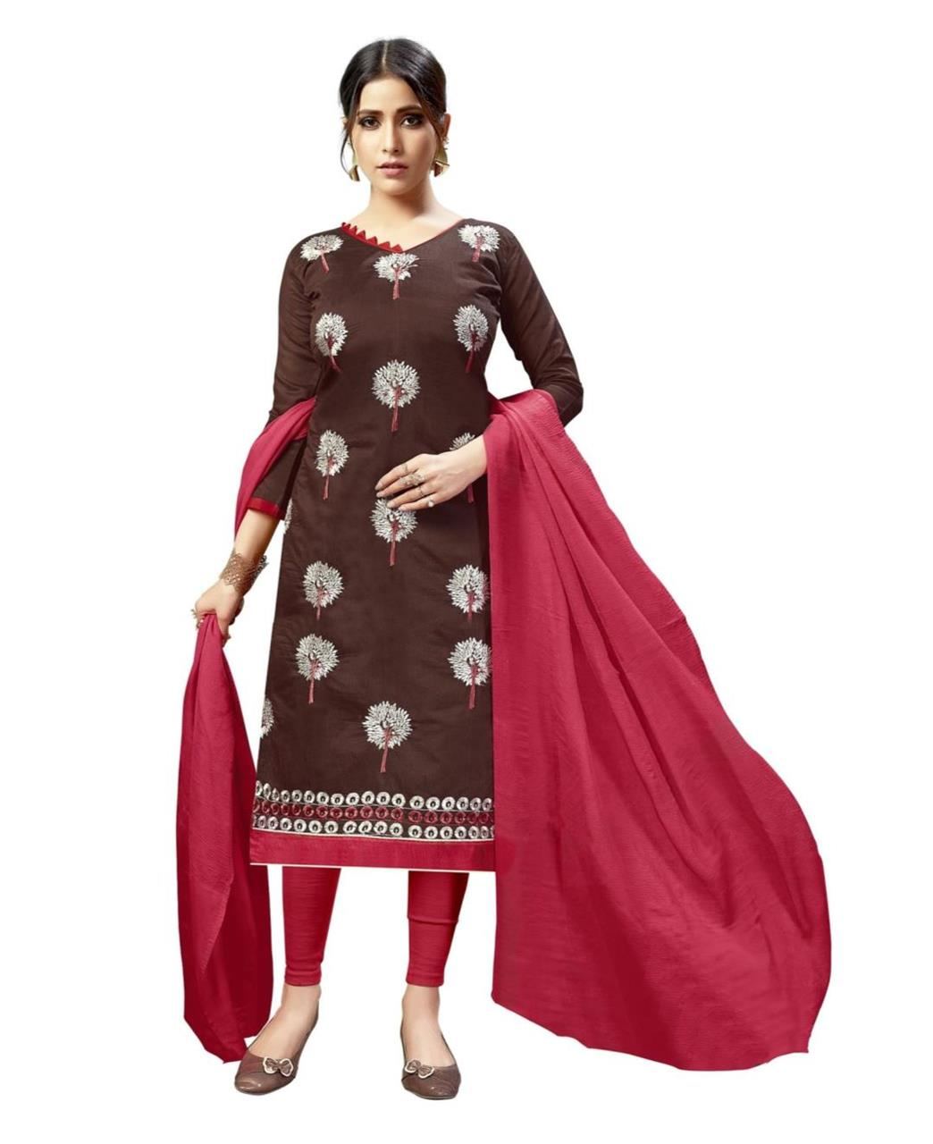 Embroidered Chanderi Brown Straight Cut Salwar