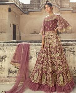 Stone Work Net Abaya Style Salwar in Pink