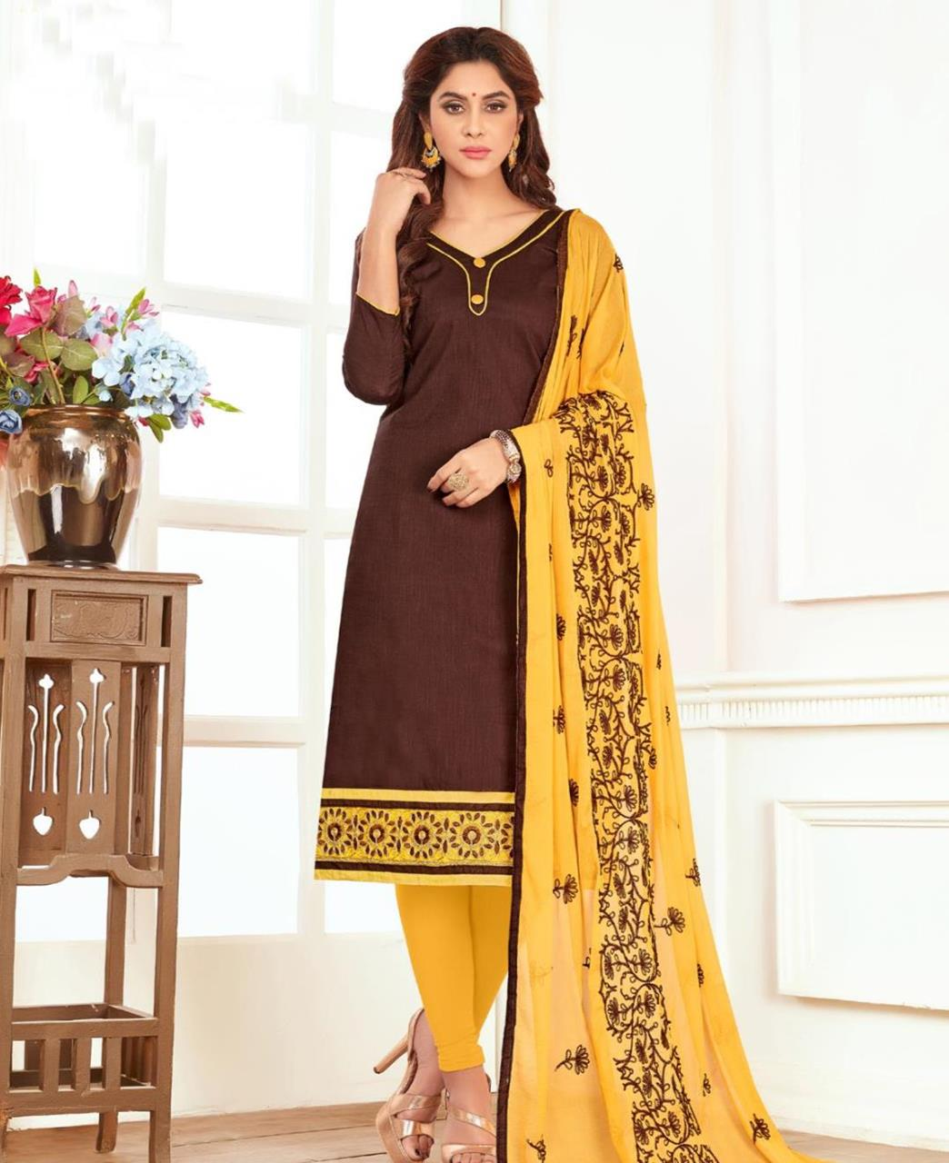 Embroidered Cotton Brown Straight Cut Salwar Kameez