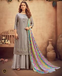 Viscose Straight cut Salwar Kameez in Grey