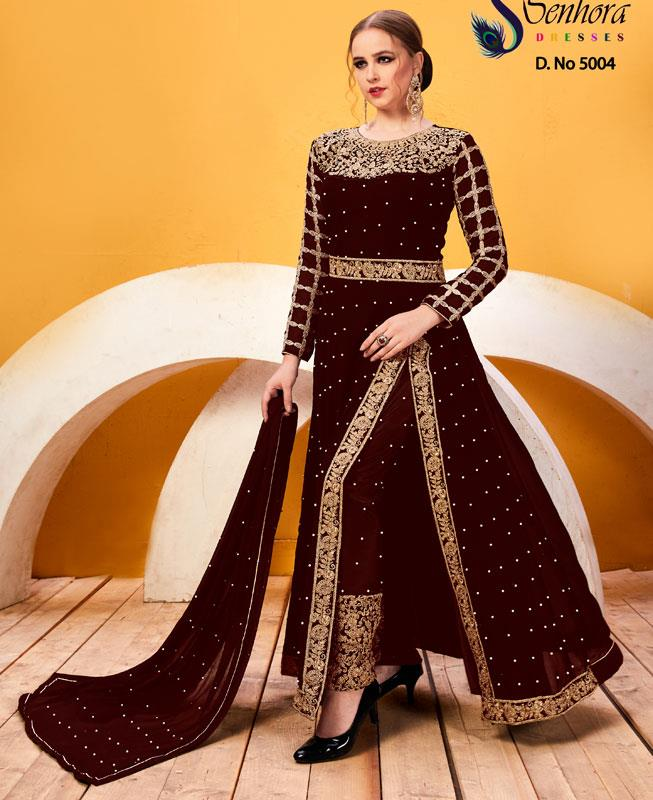 Embroidered Faux Georgette Maroon Abaya Style Salwar Kameez