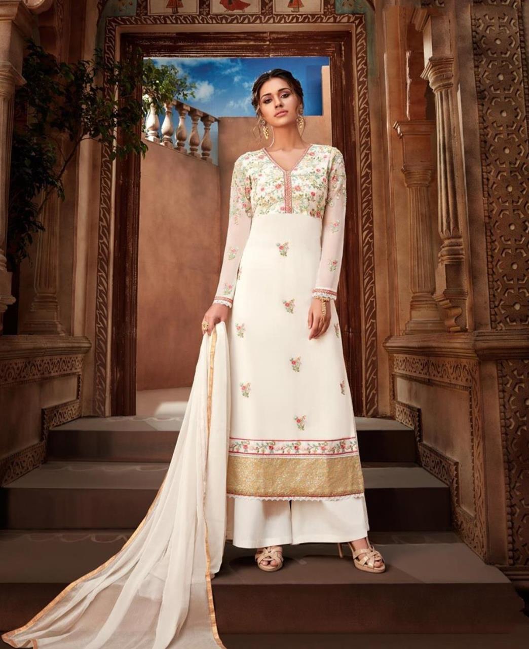 Resham Georgette White Palazzo Suit Salwar