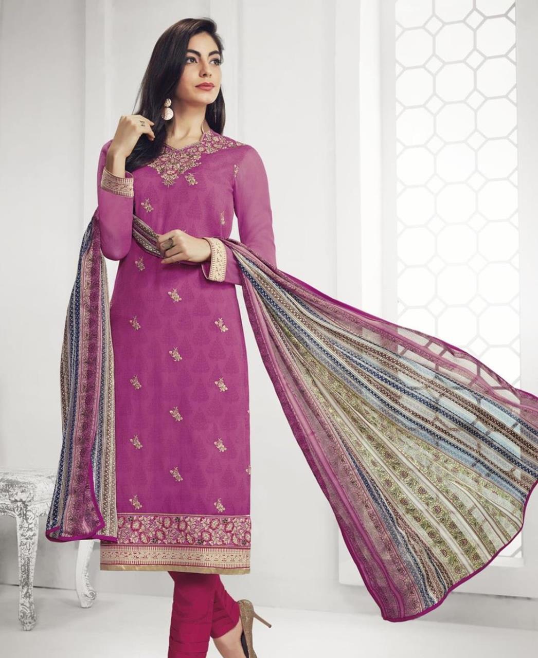 Stone Work Georgette Straight cut Salwar Kameez in Magenta Pink