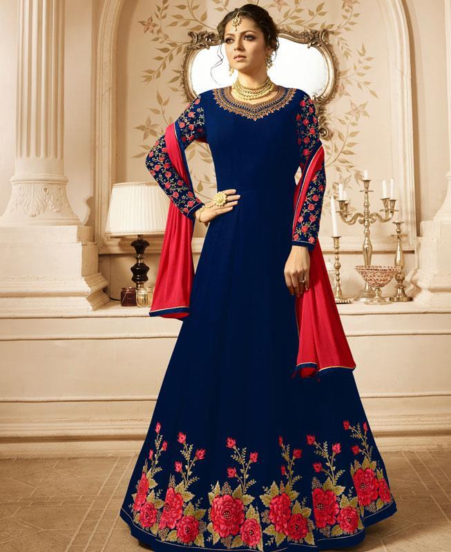 Embroidered Georgette Blue Abaya Salwar