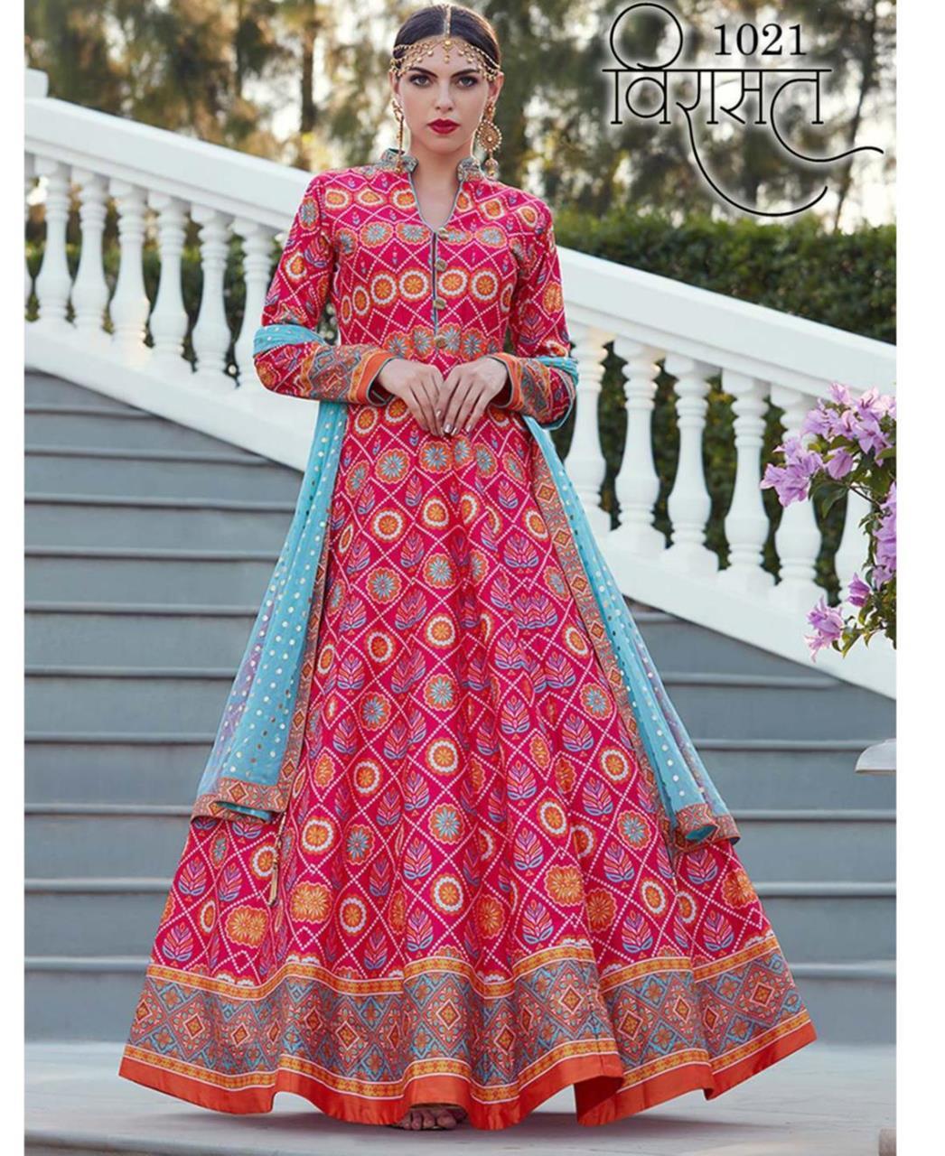Printed Silk Pink Abaya Salwar