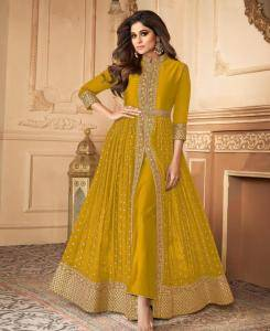 Embroidered Georgette Abaya Style Salwar in Musterd