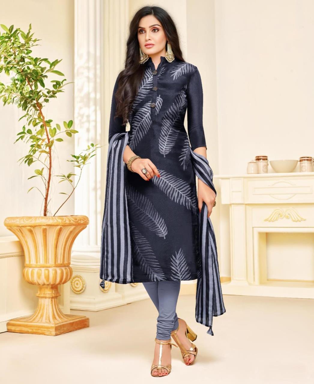 Printed Silk Navyblue Straight Cut Salwar