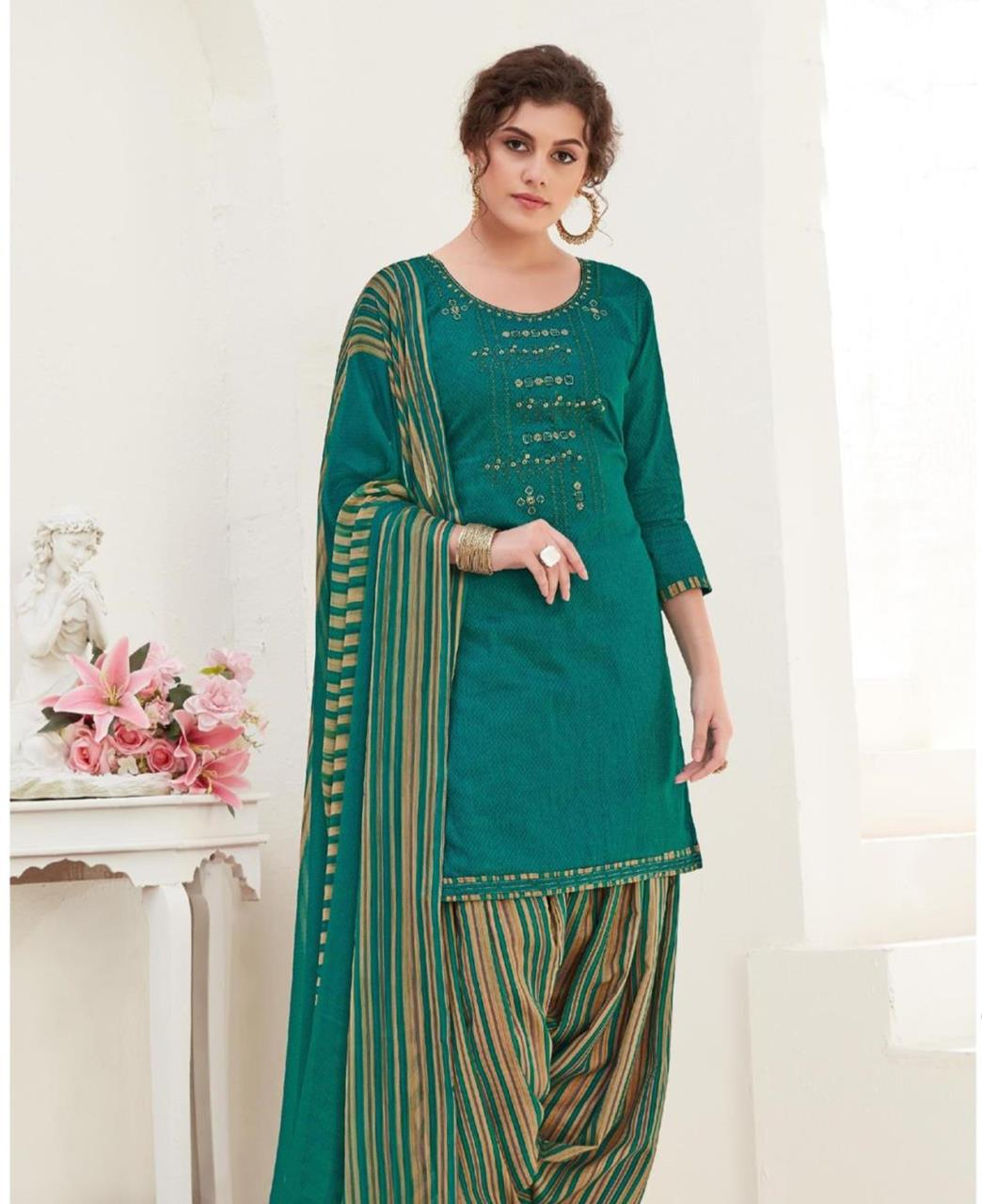 Thread Cotton Patiyala Suit Salwar in Rama Green
