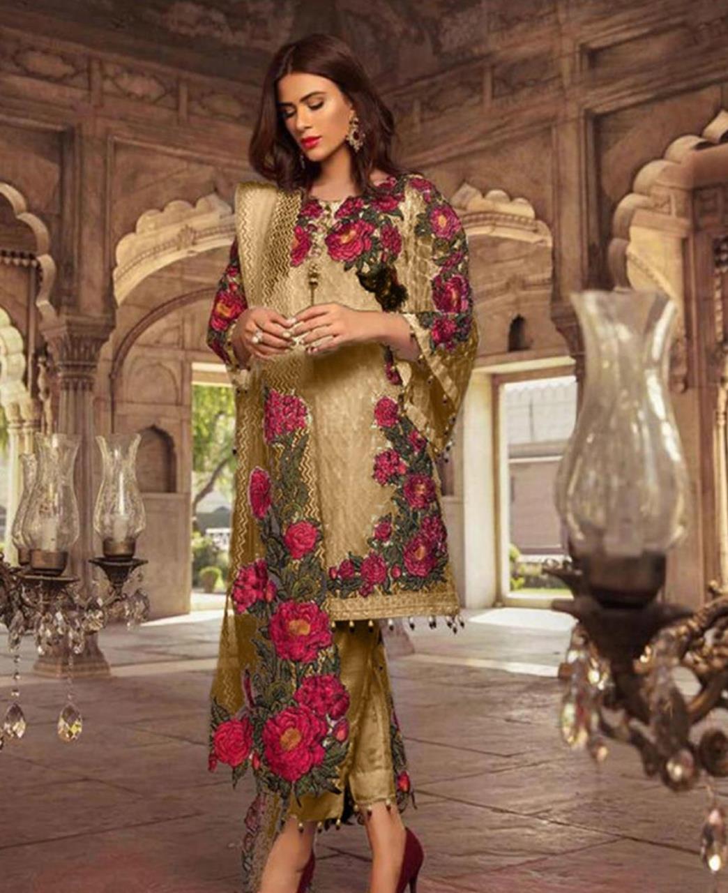 Embroidered Georgette Straight cut Salwar Kameez in Mehendi