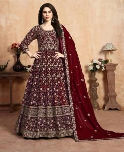 Embroidered Faux Georgette Abaya Style Salwar in Red