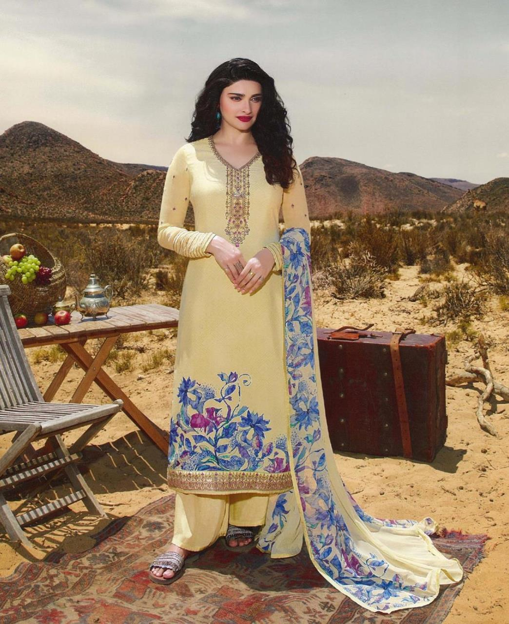 Resham Crepe Straight cut Salwar Kameez in Light Yellow