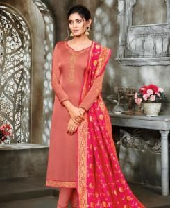 Stone Work Georgette Straight cut Salwar Kameez in Peach