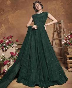 Thread Silk Abaya Style Salwar in Green