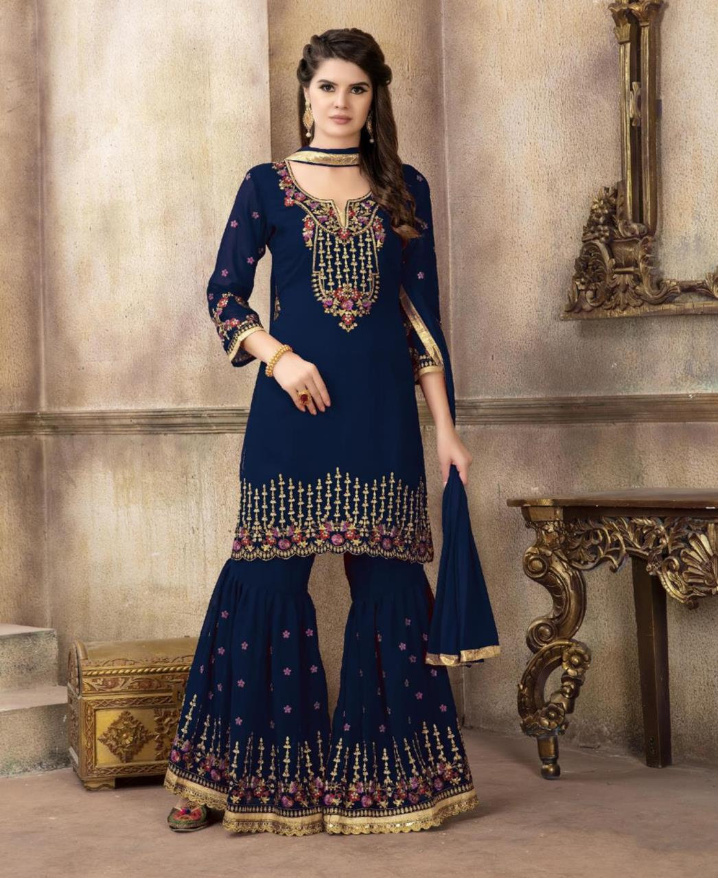 Embroidered Georgette Navyblue Palazzo Suit Salwar Kameez