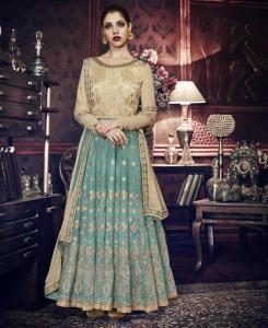 HandWorked Silk Abaya Style Salwar in Turquoise  ,  Golden