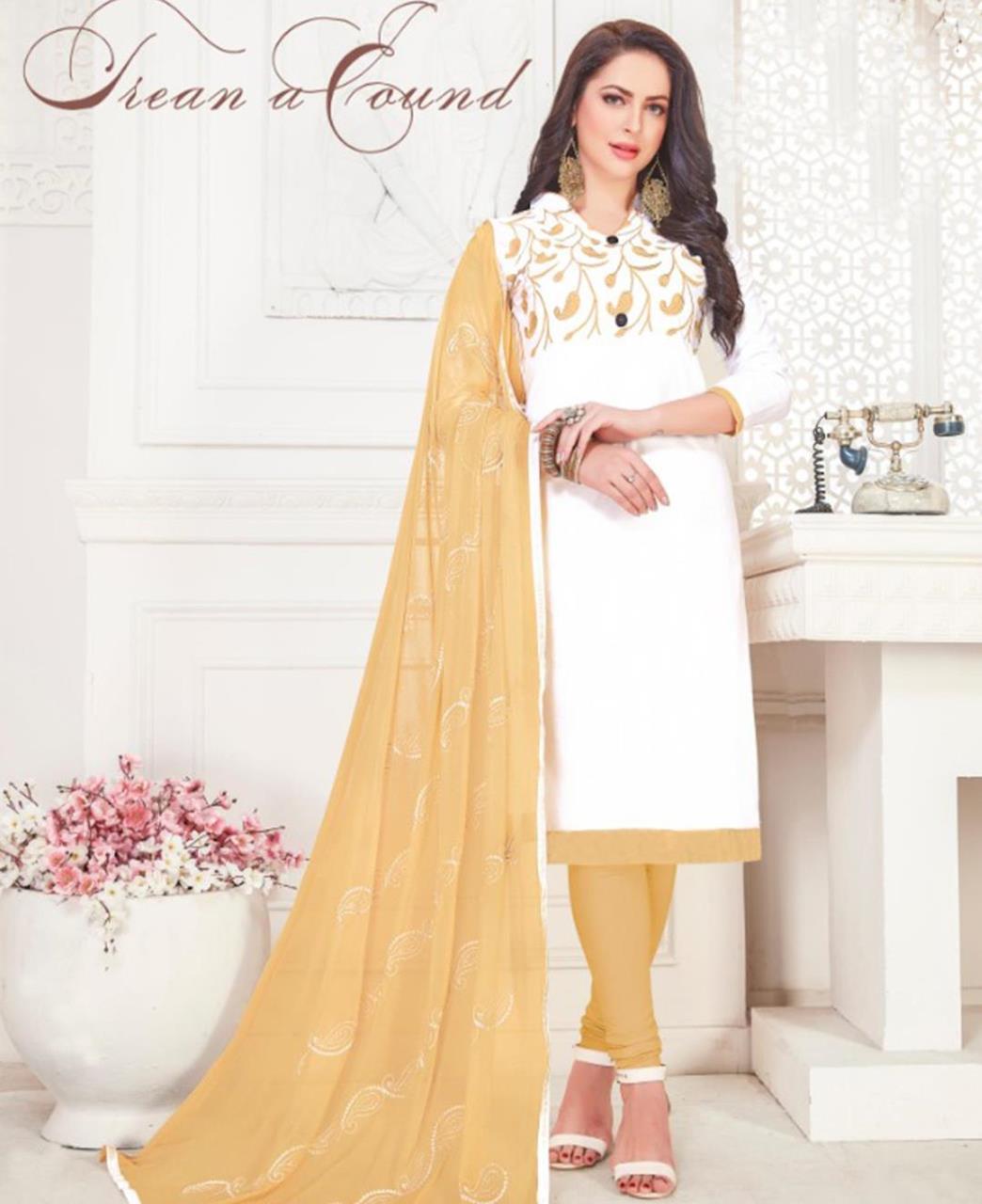 Embroidered Cotton Satin White Straight Cut Salwar Kameez