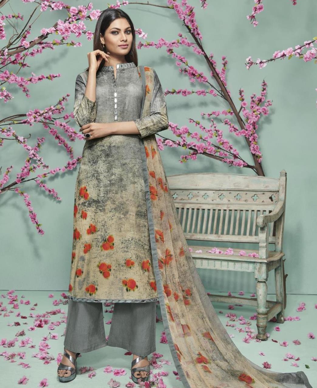 Printed Georgette Gray Palazzo Suit Salwar