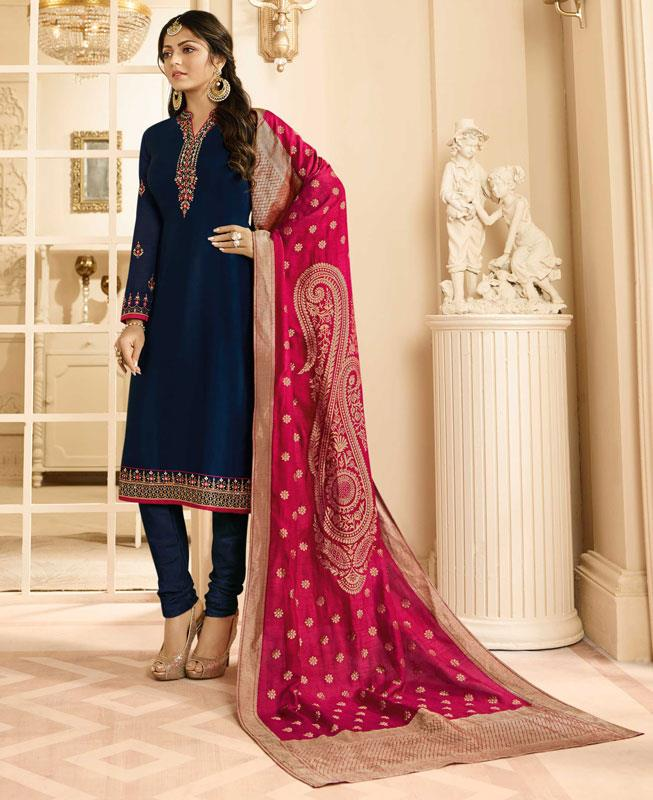 Embroidered Georgette Navyblue Straight cut Salwar