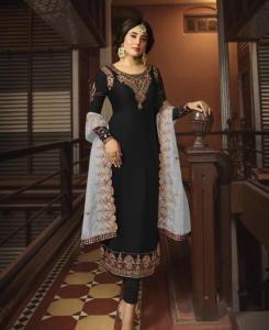 Stone Work Georgette Straight cut Salwar Kameez in Black