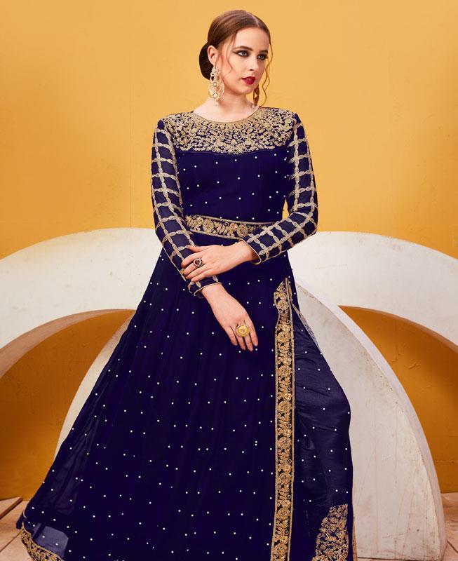 Embroidered Faux Georgette Blue Abaya Style Salwar Kameez