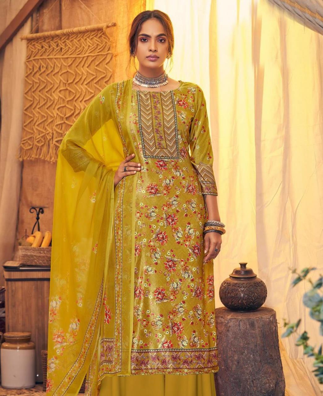 Printed Velvet Straight cut Salwar Kameez in Musterd