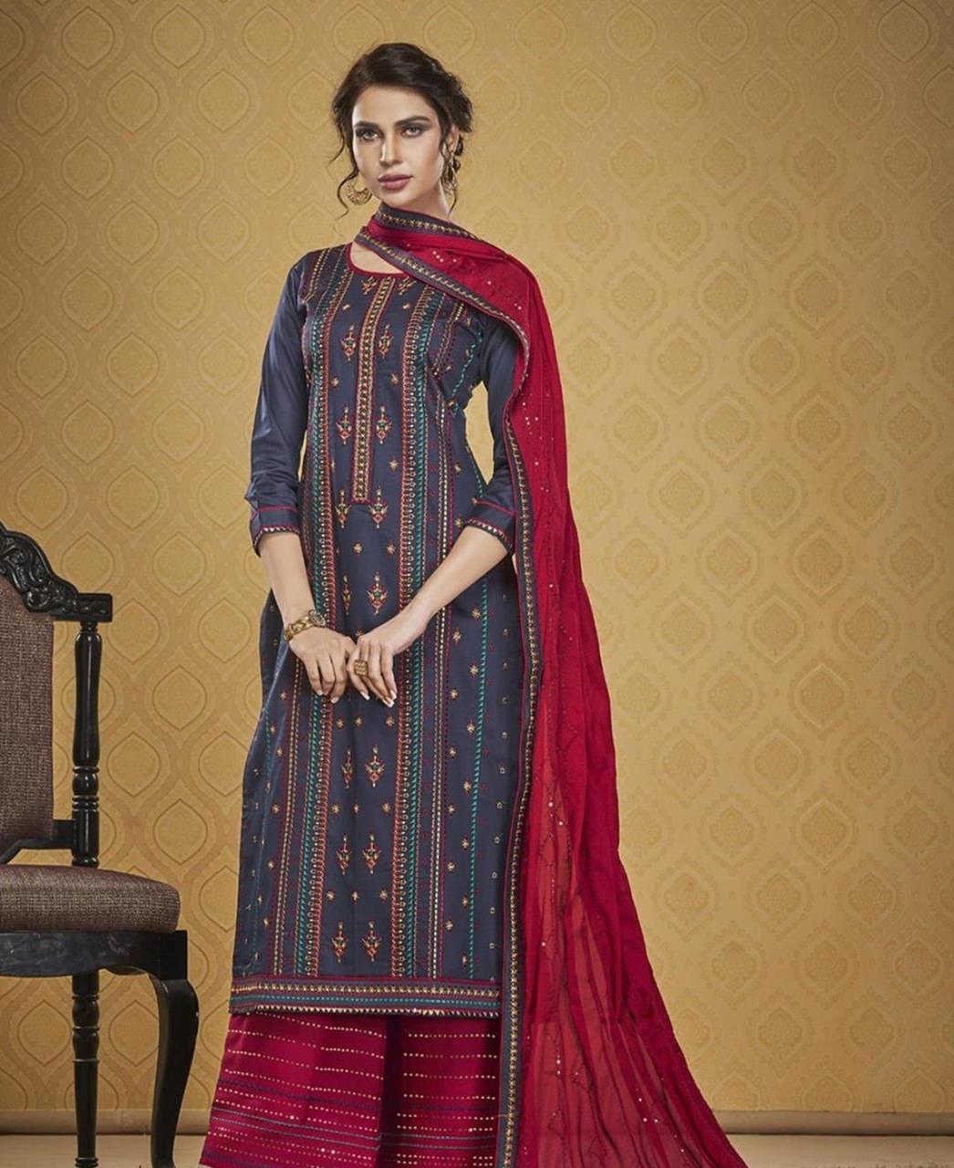 HandWorked Silk Straight cut Salwar Kameez in Blue