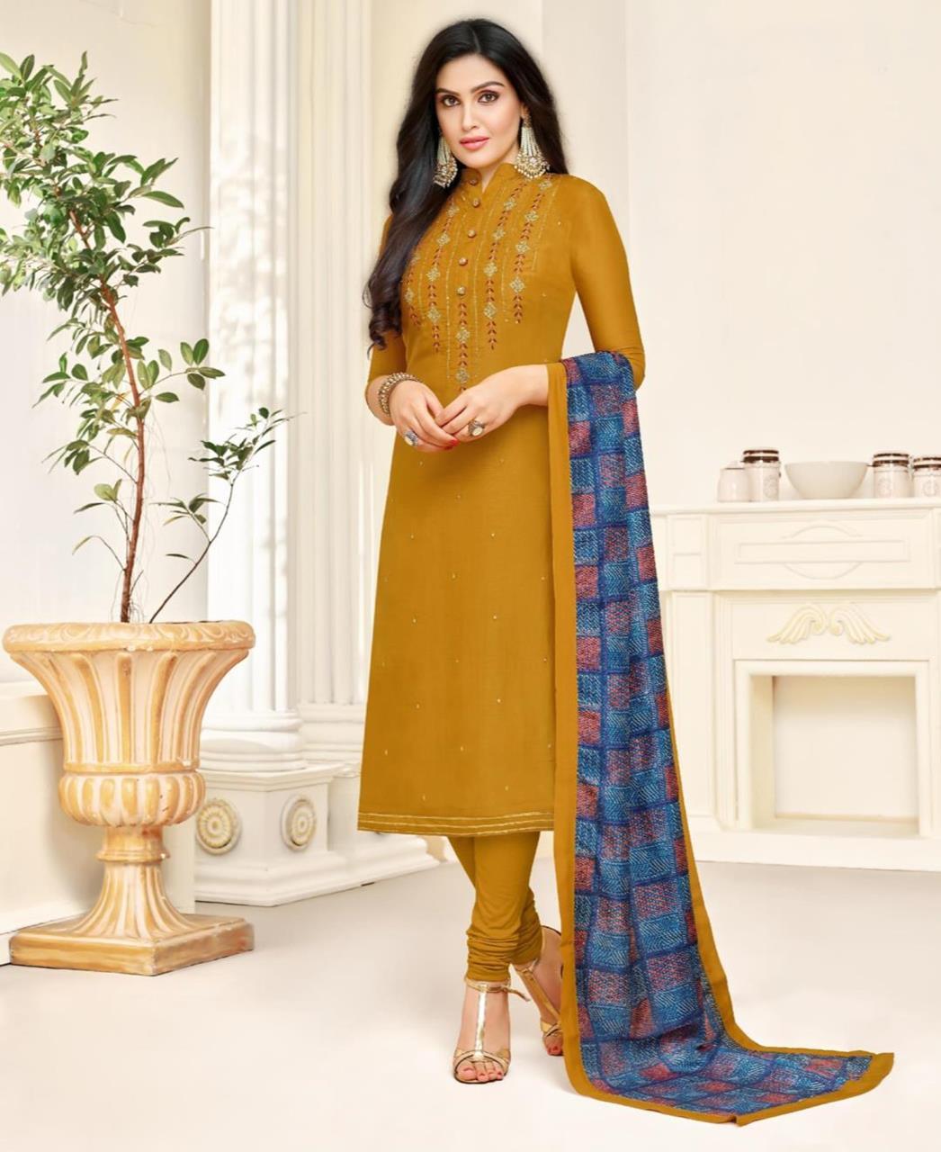 Printed Silk Yellow Straight Cut Salwar