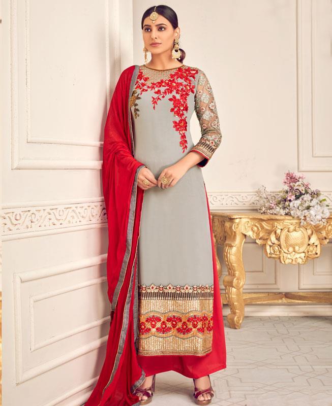 Embroidered Georgette Straight cut Salwar Kameez in Grey