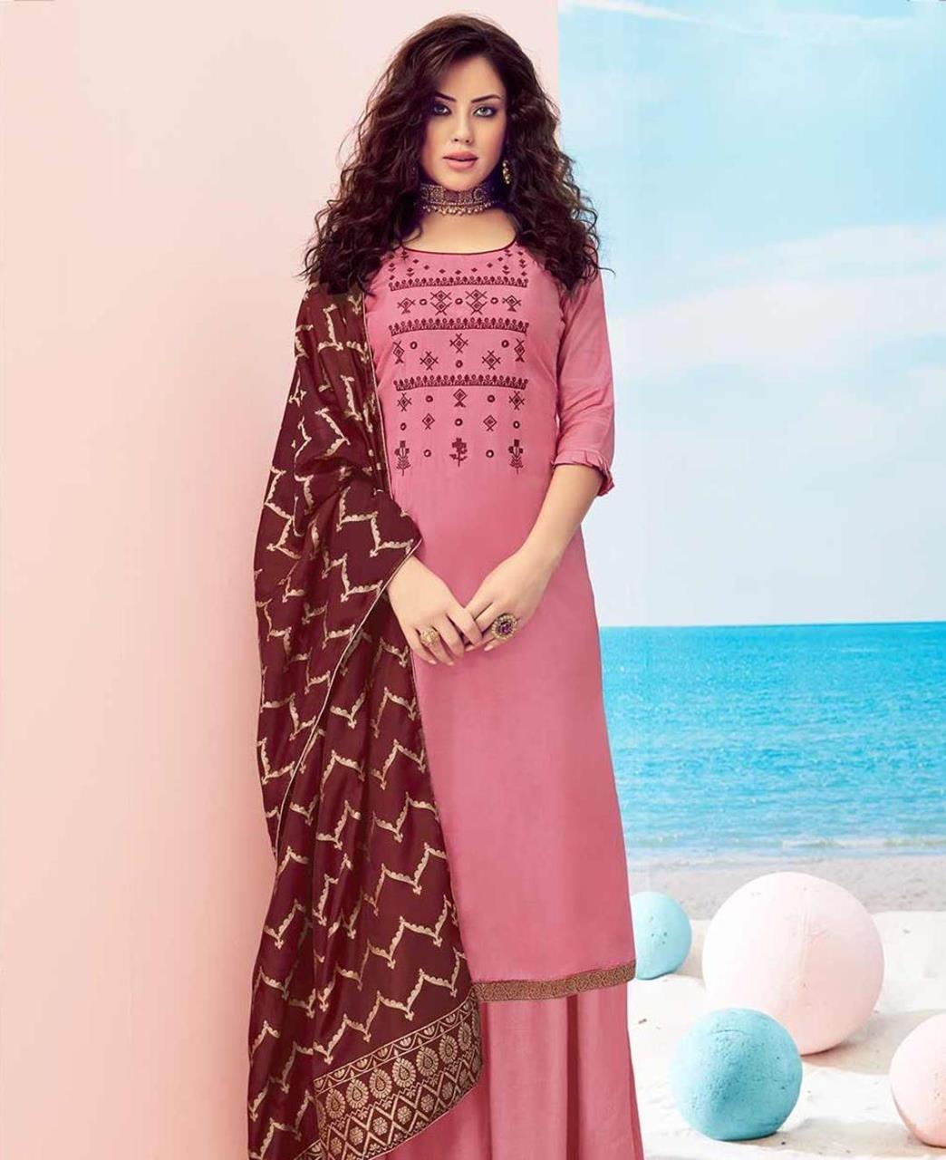 Cotton Straight cut Salwar Kameez in Pink