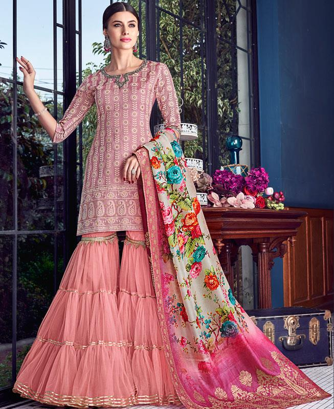 Embroidered Silk Pink Palazzo Suit Salwar Kameez
