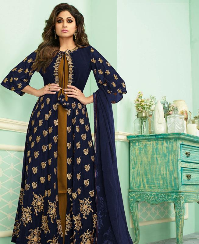 Embroidered Georgette Abaya Style Salwar in Brown