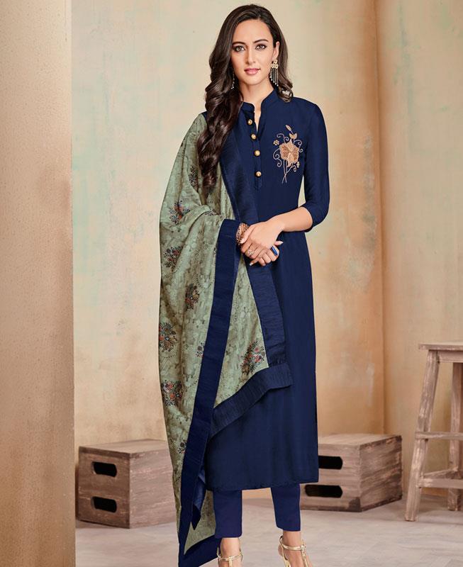Butta Work Cotton Navyblue Straight Cut Salwar
