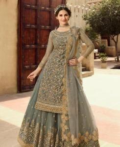 Embroidered Net Straight cut Salwar Kameez in Grey