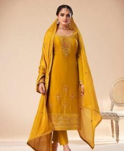 Stone Work Cotton Straight cut Salwar Kameez in Yellow