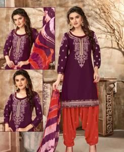 Embroidered Cotton Patiyala Suit Salwar in Wine