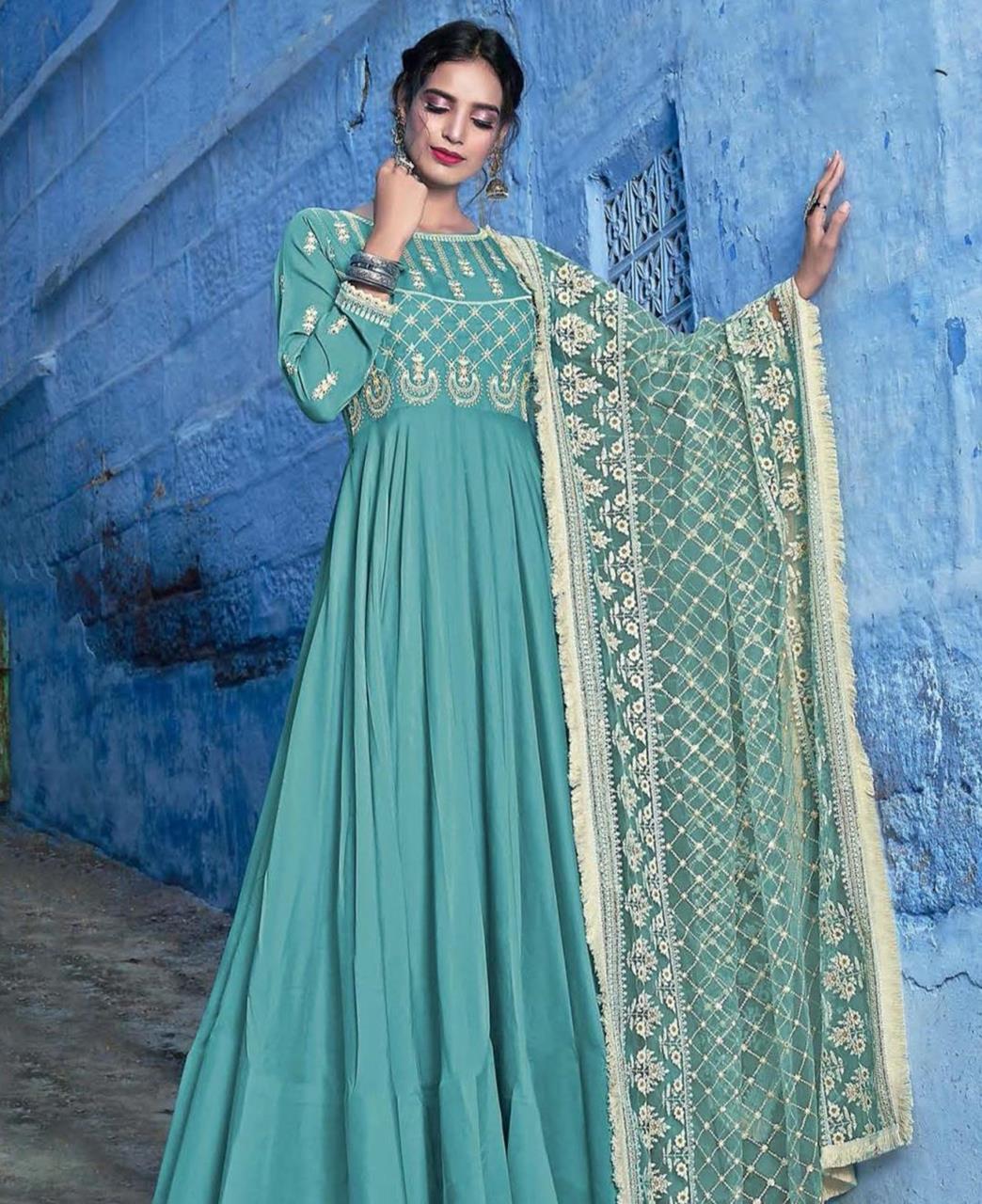 Embroidered Silk Aqua Abaya Style Salwar