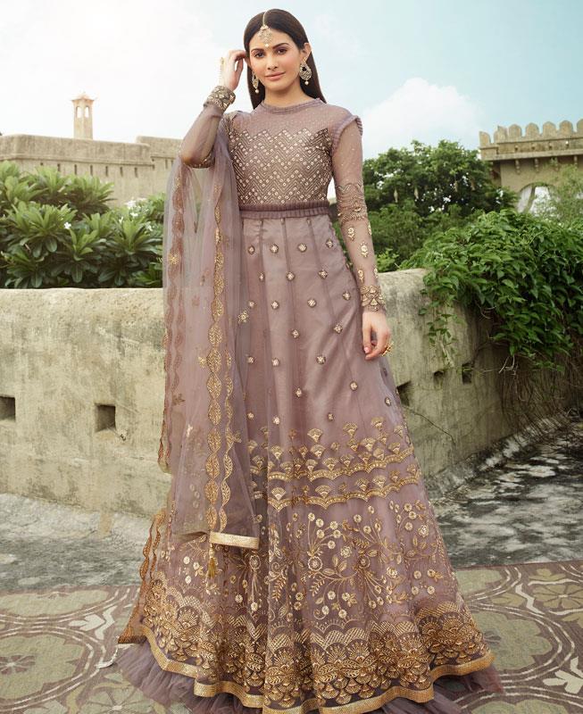Thread Net Abaya Style Salwar in Light Purple