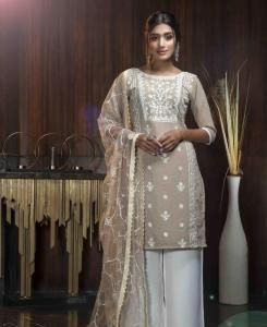 Thread Georgette Straight cut Salwar Kameez in Beige