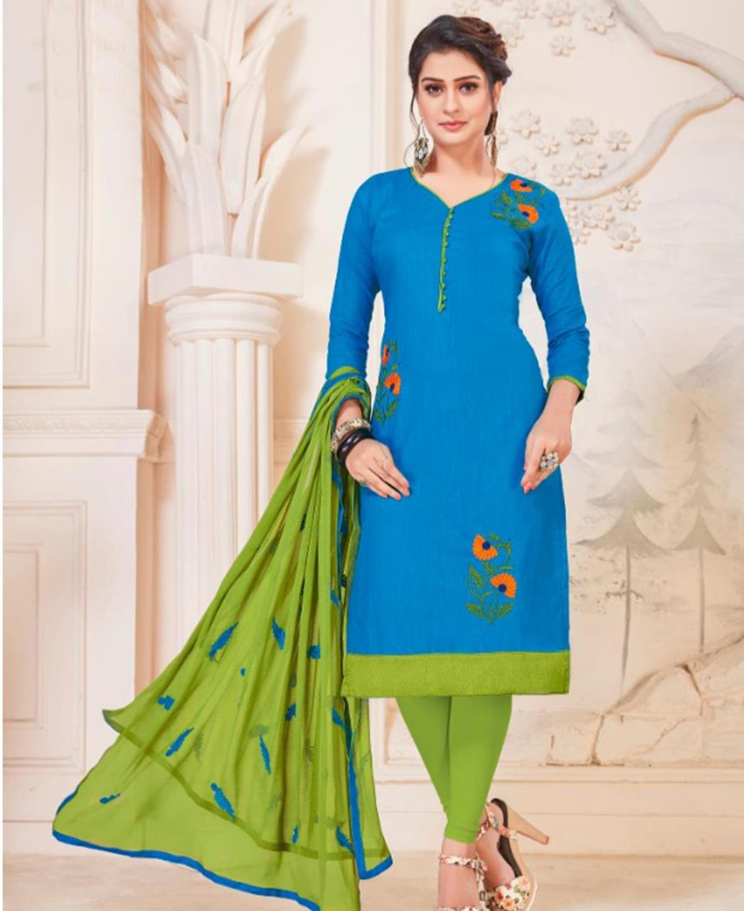 Embroidered Cotton SKYBLUE Straight Cut Salwar Kameez