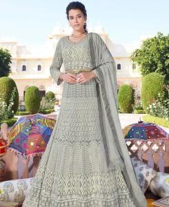 Thread Georgette Straight cut Salwar Kameez in Light Grey