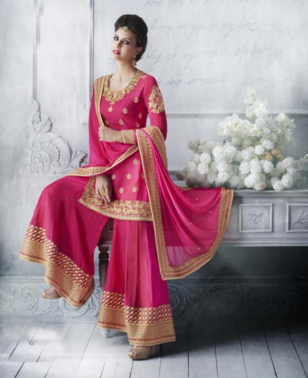 Stone Work Silk Straight cut Salwar Kameez in Bright Pink
