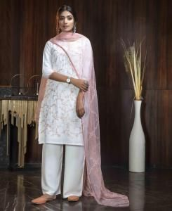 Thread Georgette Straight cut Salwar Kameez in White