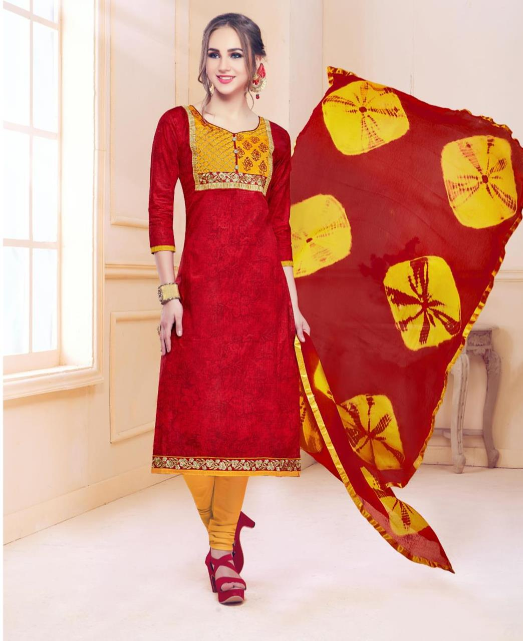 2535f4c52e Embroidered Cotton Red Straight Cut Salwar Kameez