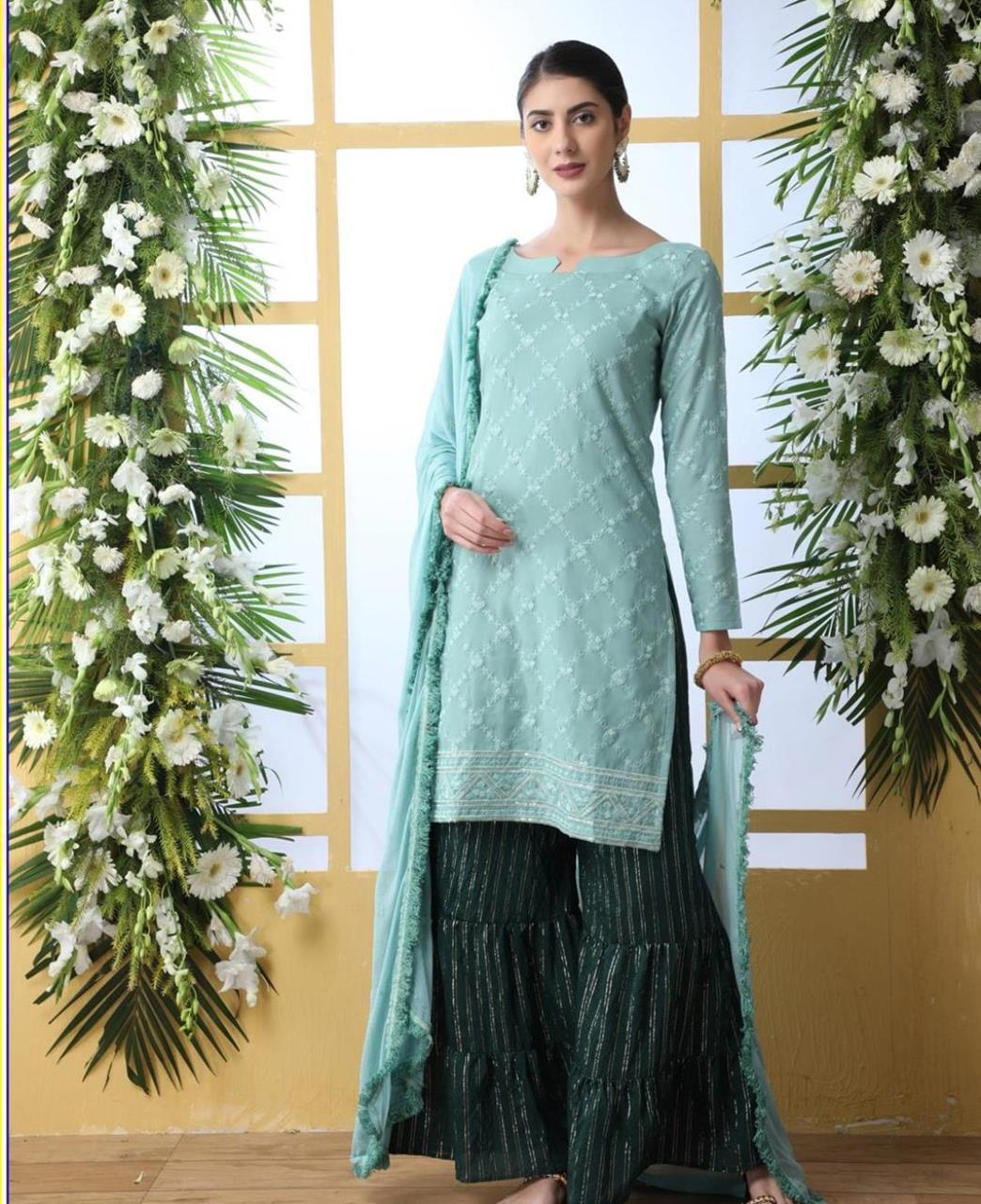 Embroidered Cotton MINTCREAM Palazzo Suit Salwar
